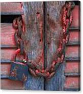 Padlock And Chain On Wooden Door Canvas Print
