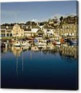 Padstow Marina Reflecting In Water Canvas Print