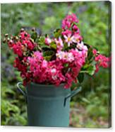 Painted Bucket Of Flowers Canvas Print