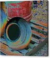 Painted Pots Pallet Canvas Print