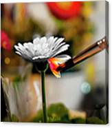 Painting Flowers With Paint Brush Canvas Print