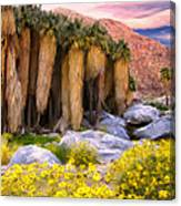 Palm Oasis And Wildflowers Canvas Print