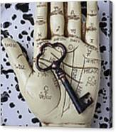 Palm Reading Hand And Key Canvas Print