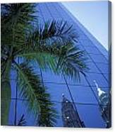 Palm Tree And Reflection Of Petronas Canvas Print