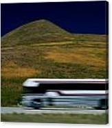 Panned View Of A Bus On Interstate 15 Canvas Print