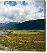 Panorama Of Waiau River Wetland South New Zealand Canvas Print