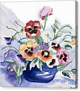Pansies In Blue Pot Canvas Print