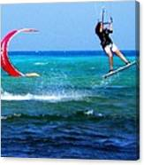 Para Surfing In Cozumel Mexico Canvas Print