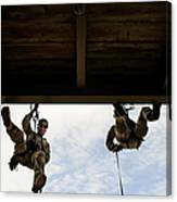 Pararescuemen Take Part In A Rappelling Canvas Print
