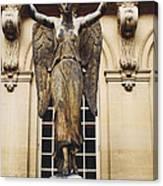 Paris Courtyard Musee Carnavalet Angel Statue - Victory Allegorical Angel Statue Canvas Print