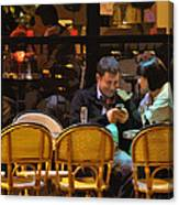 Paris At Night In The Cafe Canvas Print