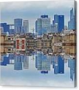 Paris La Defense And Trocadero Skyline Mirrored Canvas Print
