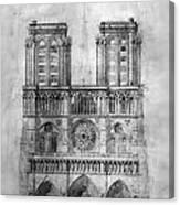 Paris: Notre Dame, 1848 Canvas Print