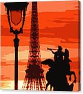 Paris Tour Eiffel Red Canvas Print
