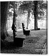 Park Bench In Black And White Canvas Print