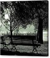 Park Benches In Autumn Canvas Print