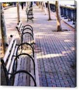Park Benches In Hoboken Canvas Print