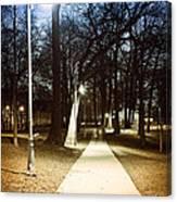 Park Path At Night Canvas Print