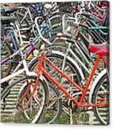 Parking Bicycles In Mako Canvas Print