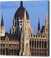 Parliament Buildings On River Danube Canvas Print