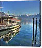 Passenger Ship Reflected On The Water Canvas Print