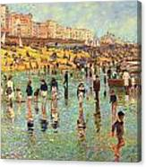 Passing Time On Brighton Beach Canvas Print