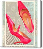 Passion Pink Strapped Pumps Canvas Print