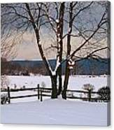 Pastoral View Of A Farm Covered In Snow Canvas Print