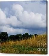 Pasture Field And Stormy Sky Canvas Print