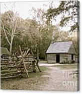 Path To Log Cabin Canvas Print
