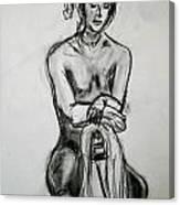 Paula - Charcoal Life Drawing Canvas Print