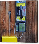 Pay Phone And Book Wooden And Yellow Canvas Print