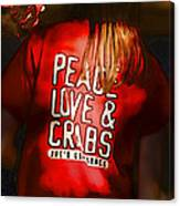 Peace Love And Crabs  Canvas Print