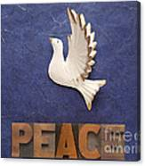 Peace Word With Dove Canvas Print