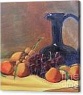 Peaches And Blue Pitcher Canvas Print