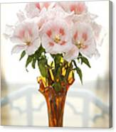 Peachy Gladiolas Canvas Print
