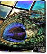 Peacock Feather On Tiles Canvas Print