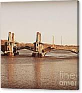 Pelham Bridge In Sepia Canvas Print