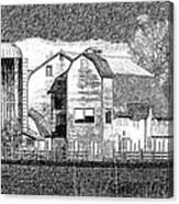 Pencil Sketch Barn Canvas Print