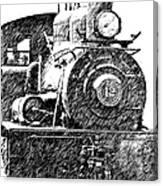 Pencil Sketch Locomotive Canvas Print