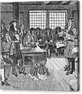 Penn And Colonists, 1682 Canvas Print