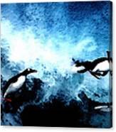 Penquin Joy Play  In Huge Waves Canvas Print