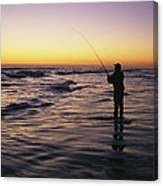 People Are Surf Fishing For Red Drum Canvas Print