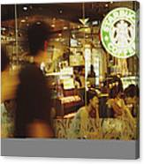 People At One Of The First Starbucks Canvas Print