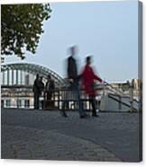 People Walk Along The Rhine River Canvas Print