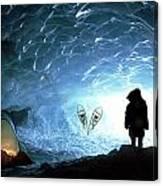 Person In Ice Cave, Appa Glacier Canvas Print