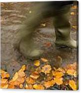 Person In Motion Walks Through Puddle Canvas Print