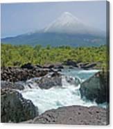 Petrohue Falls And Osorno Volcano Canvas Print