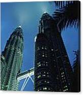 Petronas, Twin Towers At Night, Low Canvas Print