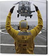 Petty Officer Guides An Sh-60r Sea Hawk Canvas Print